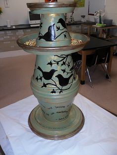 Just a picture but this is so cute! Clay pots and saucers painted, sponged with gold accents. Could even use the Cricut t do the birds! Would make an adorable gift!