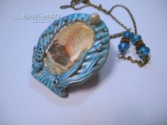 Sacred Ocean blue & orange polymer clay pendant necklace charm resin one of…