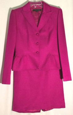 ANNE KLEIIN Violet-Red Textured Cotton/Wool/Silk Skirt Suit-Hand Picked Trim - 6 #AnneKleinSuit #SkirtSuit #anneklein #suit #violet #red #magenta #cerise #Silk #wool #cotton #6