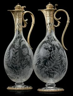 Ваза Silver- gilt mounted glass claret jugs, c. Antique Bottles, Antique Glass, Antique Silver, Cut Glass, Glass Art, Crystal Glassware, Carafe, Decanter, Vases