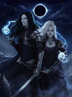 Male female human pair Mage wizard sorcerer battlemage
