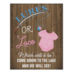 Lures or Lace Wooden Gender Reveal Baby Sign - baby gifts giftidea diy unique cute Country Gender Reveal, Gender Reveal Themes, Gender Reveal Decorations, Baby Gender Reveal Party, Gender Reveal Smoke Bomb, Lake Party, Baby Banners, Reveal Parties, Lace