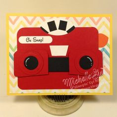 too cute - vintage toy punch art Paper Punch Art, Punch Art Cards, Kids Cards, Baby Cards, Fun Cards, Camera Cards, Card Tags, Card Kit, Craft Punches