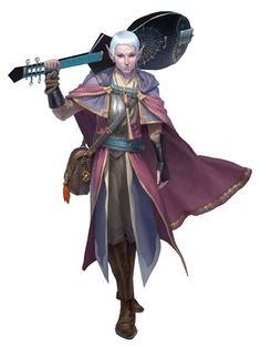 Half-elf (moon) bard (from the 5e Dungeons & Dragons Player's Handbook). Art by Clint Cearley.