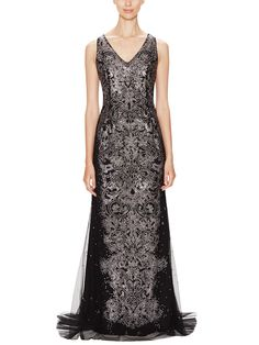 Tulle Sequined V-Neck Gown by Carolina Herrera at Gilt