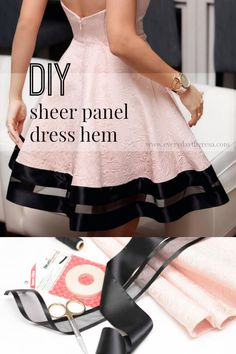 Transform your basic dress into a glamour statement dress for any special occasion using a few basic materials! A simple step-by-step tutorial using ribbons and iron-on adhesive and thread for an elegant and stylish sheer panel hem.