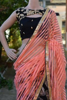 indian fashion Modern -- Click visit link to see Saree Blouse Neck Designs, Choli Designs, Stylish Blouse Design, Designer Blouse Patterns, Blouse Models, Stylish Sarees, Designer Wear, Indian Outfits, Indian Fashion