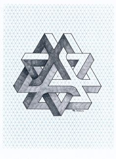 Isometric Drawing, Isometric Design, Illusion Drawings, Illusion Art, Impossible Shapes, Geometric Shapes Art, Sacred Geometry Art, Math Art, Desenho Tattoo