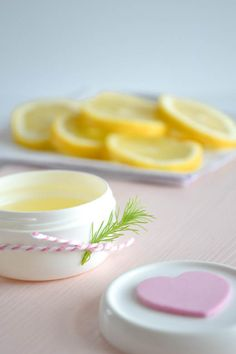 DIY Lemon Hand Lotion ~ yellow, pink and white photography