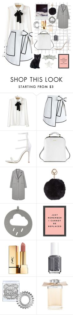 """Bows"" by bartivana ❤ liked on Polyvore featuring WithChic, Chicwish, DKNY, Polaroid, MANGO, Humble Chic, Yves Saint Laurent, Essie, Invisibobble and Chloé"