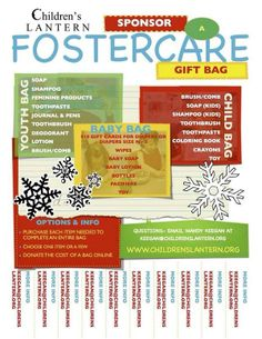 Currently needing items for our Foster Care gift bags. Will you join us?