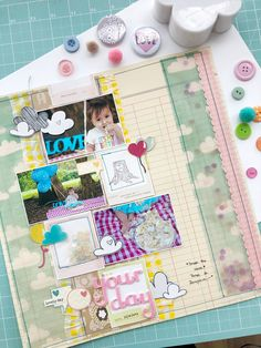 Smash the cake da Nalu - scrapbook layout com papéis American Crafts Nalu, American Crafts, Scrapbooking, Layout, Page Layout, Scrapbooks, Memory Books, The Notebook