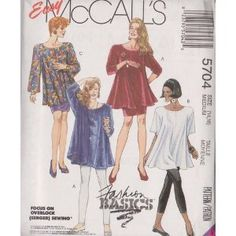 Misses Trapeze Tunic, Skirt And Leggings - Leggings For Stretch Knits Only McCall's Sewing Pattern 5704 (Size: 14-16