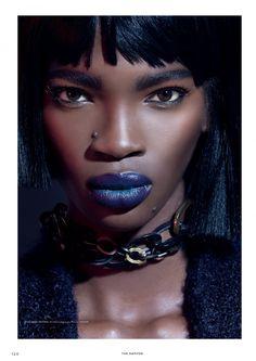 Aamito Lagum for TheDapifer magazine by Remi Adetiba Black Girl Makeup, Blue Makeup, Girls Makeup, Ebony Beauty, Dark Beauty, Blue Lips, Beautiful Black Girl, Beautiful Women, Blue Eyeshadow