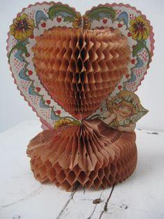 Antique / vintage honeycomb tissue paper valentine decoration