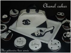gâteau chanel sac à main et chaussures Chanel Cake, Chanel Decor, Bag Cake, Butter Dish, Cakes, No Bake Desserts, Beautiful Birthday Cakes, Welly Boots, Bags
