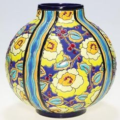 Boch Freres Art Pottery, Crackled Enameled Vase, each panel comprised of bold, multi-colored flowers, circa 1901-1950