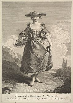 Peasant Woman from Around Ferrara Edme Jeaurat (French, Vermenton 1688–1738 Paris)  Artist:     After François Boucher (French, Paris 1703–1770 Paris) Date:     1734 Medium:     Etching and engraving
