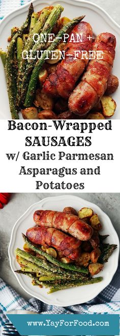 One-pan and gluten-free! Bacon-wrapped pork sausage with garlic parmesan roasted asparagus and potatoes is tasty, flavourful, and so easy to make. Prep time is at most 10 minutes and it is ready in less than a hour!