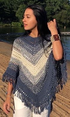 Blue and Cream Boho Poncho Crochet Pattern- Easy Hippie Poncho Pattern Col Crochet, Beau Crochet, Crochet Poncho Patterns, Crochet Shawl, Crochet Yarn, Knitting Patterns, Crochet Fringe, Free Crochet, Crochet Capas