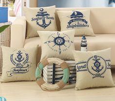 Decorative cushion chair cojines sofa throw pillows vintage pillowcase canvas cushion cover home decor almofadas decorativas Sofa Throw Pillows, Throw Pillow Cases, Pillow Covers, Patio Cushion Covers, Classic Pillows, Geometric Cushions, Nautical Pillows, Pillowcase Pattern, Decorative Pillow Cases