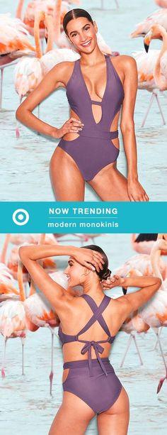f4a2dca8a Women's Cut-Out Plunge One Piece Swimsuit - Xhilaration™ Purple Steel XS