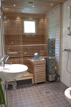 If you want the health and wellness benefits of steam without going to the spa, then you can either buy a home unit pre fabricated or create your own sauna design. It does not take a builder, planner or even an architect to draw up sauna plans. Add A Bathroom, Bathroom Plans, Basement Bathroom, Modern Bathroom, Bathroom Ideas, Basement Sauna, Sauna Steam Room, Sauna Room, Modern Saunas