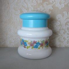 Avon English Provincial Charisma Powder Sachet Milk Glass Jar with Blue Lid, Flowers, Butterflies