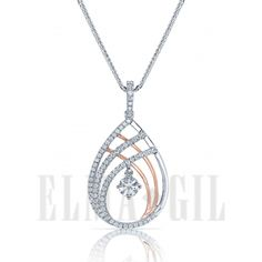 18k white and rose gold tear drop design diamond pendant available at Kleinhenz Jewelers.  440.892.1020