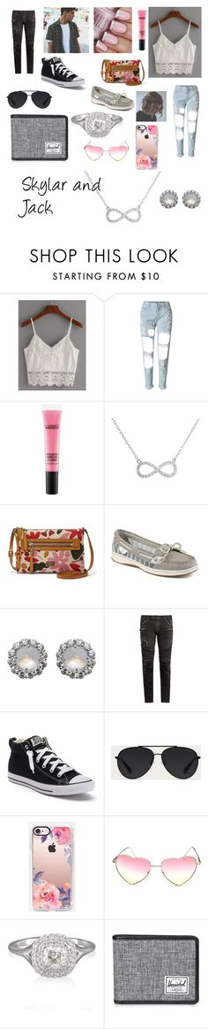 """""""Skylar and Jack"""" by annemarie0702 on Polyvore featuring MAC Cosmetics, FOSSIL, Sperry, Buccellati, Balmain, Converse, Bally, Casetify, Forevermark and Herschel Supply Co."""