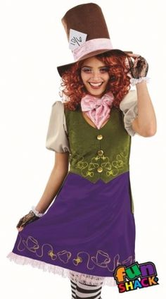 Ladies Miss Hatter Fancy Dress Costume Fun Shack