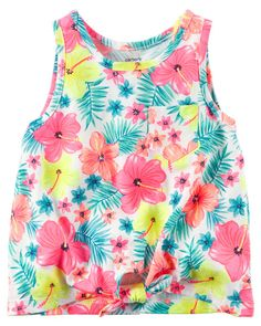 Kid Girl Front-Tie Neon Floral Tank from Carters.com. Shop clothing & accessories from a trusted name in kids, toddlers, and baby clothes.
