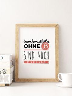"""A5 Print Spruch """"Bauchmuskeln"""" von Beiderhase Grafik und Design auf DaWanda.com #bauchmuskeln #sport #fitness #fit #muskeln #spruch #quote #funny #design #karte"""
