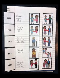 French Family Interactive Notebook  Flashcards - Students tape these directly into their notebooks.  Can also be used as cards for Spanish games like Flyswatter, Memory, Bingo, etc.  No more lost or misspelled flashcards!  World Language Cafe