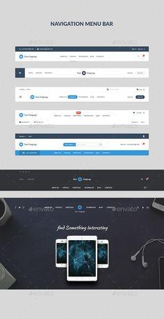 Navigation Menu Bar Ui Website Layout Components Flat