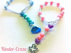 Directions to create a beaded Rosary with young children