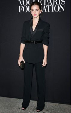 Emma Watson in an elegant Givenchy tuxedo suit at the Vogue Paris Foundation gala