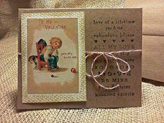 "Valentine Card - Vintage, Victorian, Stamped, Rustic  - Sad Little Boy with Dog ""Nobody Loves Me"""