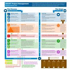 SMART Project Managment Process Flow infographic - Substantiation, Mediation, Activation, Regulation, Termination
