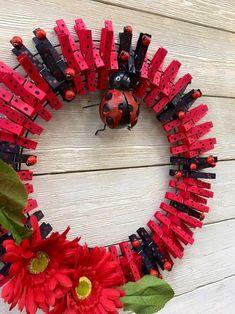 Ladybug clothespin wreath/spring wreath /summer wreath /ladybug decor/front door wreath - Lilly is Love Deco Mesh Wreaths, Holiday Wreaths, Door Wreaths, Winter Wreaths, Burlap Wreaths, Spring Wreaths, Ribbon Wreaths, Wreath Crafts, Diy Wreath
