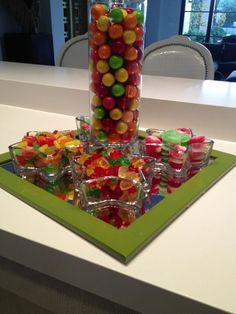 Candy centerpiece by www.candybarcouture.com