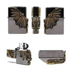 A Gragoyle Gold Zippo Lighter Black Ice gift Made in USA GENUINE ORIGINAL Packin