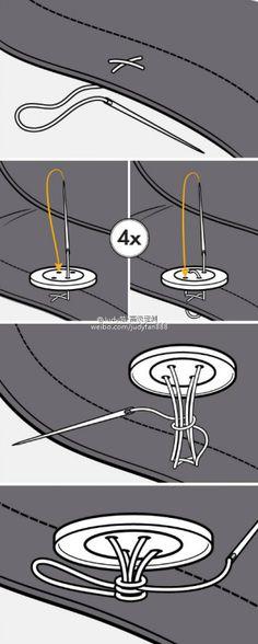 Hoe zet ik een knoop aan een jasje?