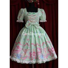 Green/Pink/Yellow Cartton Printed Rococo Lolita Dress