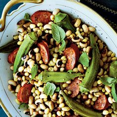 Field Peas with Okra and Andouille Sausage | #recipes #sidedish