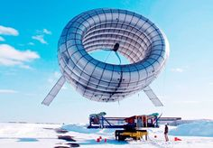 A enormous helium-filled wind turbine will soon float over the city of Fairbanks, Alaska. The turbine will hover at an altitude of 1,000 feet for 18 months catching air currents that are five to eight times more powerful than winds on the ground.