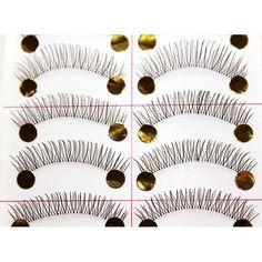 New Thin 10 Pair Natural Black Long Fake False Eyelashes Eye Lash Makeup Free Shipping