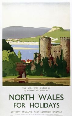 Vintage Travel GBP - Vintage North Wales Conway Lms Railway Travel Tourism Poster Re-Print Posters Uk, Train Posters, Railway Posters, Poster Ads, Poster Prints, Famous Marines, British Travel, National Railway Museum, Tourism Poster