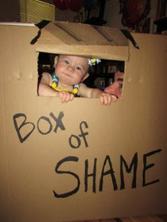 Box of Shame photo op for Despicable Me party!