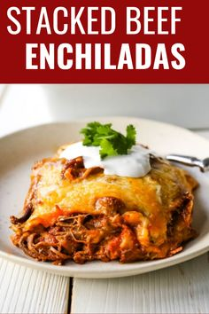 Mexican seasoned shredded beef enchiladas with melted cheese, corn tortillas, and homemade enchilada sauce. An easy beef enchilada casserole! Enchilada Casserole Beef, Beef Casserole Recipes, Homemade Enchilada Sauce, Homemade Enchiladas, Enchilada Recipes, Beef Recipes, Freezer Recipes, Freezer Cooking, Copycat Recipes
